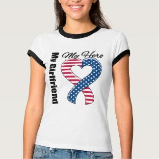 My Girlfriend My Hero Patriotic USA Ribbon Tee Shirt
