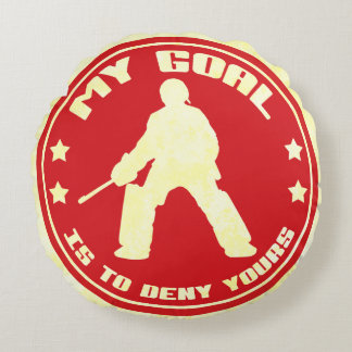My Goal, Field Hockey Goalie Round Pillow, red Round Pillow