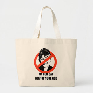 My god can beat up your god jumbo tote bag