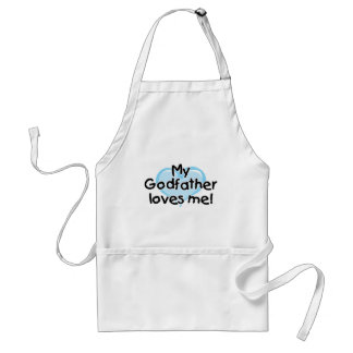 My Godfather loves me (blue) Adult Apron