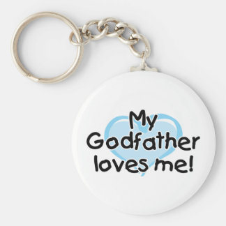 My Godfather loves me (blue) Basic Round Button Keychain