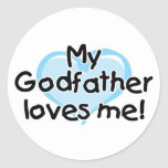 My Godfather loves me (blue) Round Stickers