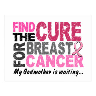 My Godmother Is Waiting Breast Cancer Postcard