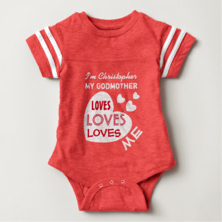 My GODMOTHER Loves Me with Hearts Custom Text V01F Baby Bodysuit