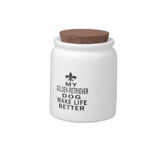 My Golden Retriever Dog Make Life Better Candy Jar