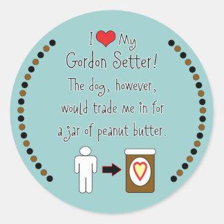 My Gordon Setter Loves Peanut Butter Classic Round Sticker