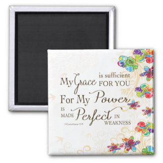 My Grace is Sufficient 2 Inch Square Magnet