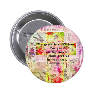 My grace is sufficient for you BIBLE quote - CROSS Pinback Buttons