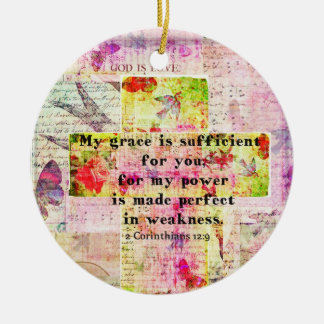 My grace is sufficient for you BIBLE quote - CROSS Christmas Ornaments