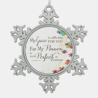My Grace is Sufficient Snowflake Pewter Christmas Ornament