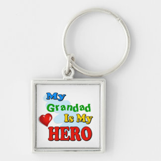 My Grandad Is My Hero – Insert your own name Silver-Colored Square Keychain