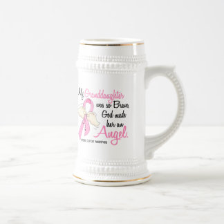 My Granddaughter Is An Angel 2 Breast Cancer Beer Stein