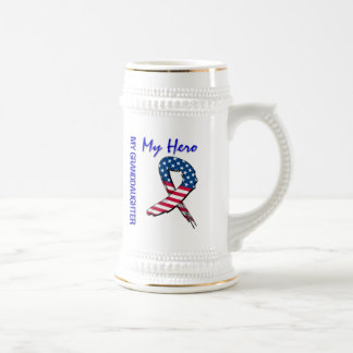 My Granddaughter My Hero Patriotic Grunge Ribbon Beer Stein