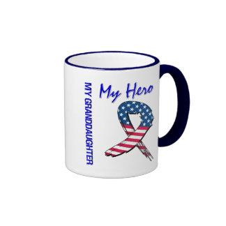 My Granddaughter My Hero Patriotic Grunge Ribbon Ringer Mug