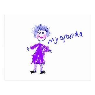 My Grandma - Child's Drawing Postcard