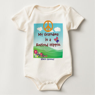 My Grandma is a Retired Hippie baby apparel Baby Bodysuit