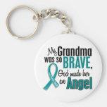My Grandma Is An Angel 1 Ovarian Cancer Basic Round Button Keychain
