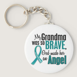 My Grandma Is An Angel 1 Ovarian Cancer Keychain