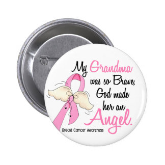 My Grandma Is An Angel 2 Breast Cancer Pinback Button