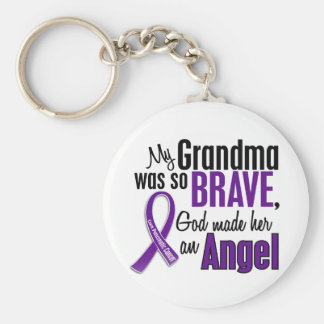 My Grandma Is An Angel Pancreatic Cancer Basic Round Button Keychain