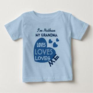 My GRANDMA Loves Me Blue Hearts Custom Text V06 Baby T-Shirt