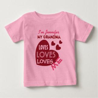 My GRANDMA Loves Me Red Hearts Custom Text V06 Baby T-Shirt