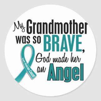My Grandmother Is An Angel 1 Ovarian Cancer Classic Round Sticker