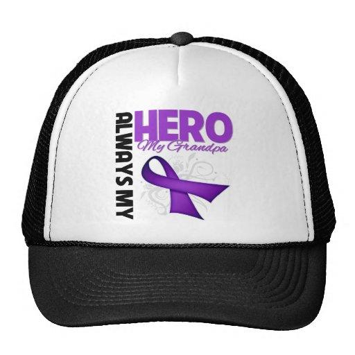 My Grandpa Always My Hero - Purple Ribbon Hat