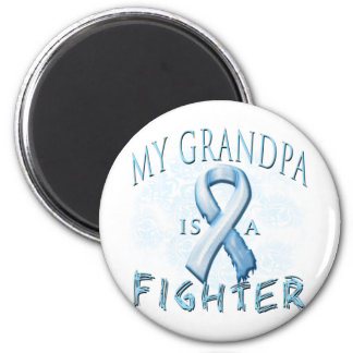 My Grandpa is a Fighter Light Blue 2 Inch Round Magnet