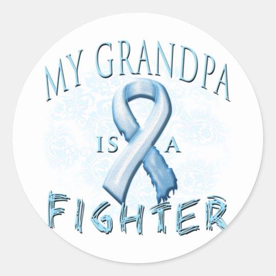 My Grandpa is a Fighter Light Blue Classic Round Sticker