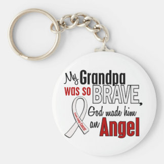 My Grandpa Is An Angel Lung Cancer Basic Round Button Keychain