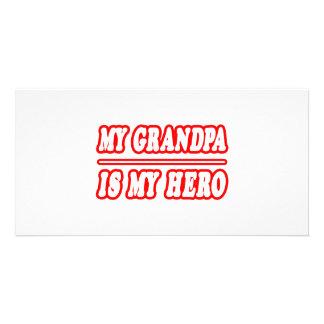My Grandpa Is My Hero Custom Photo Card