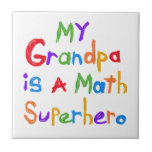 My Grandpa Math Superhero T-shirts and Gifts Small Square Tile