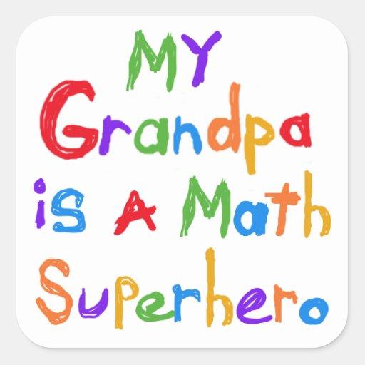 My Grandpa Math Superhero T-shirts and Gifts Stickers