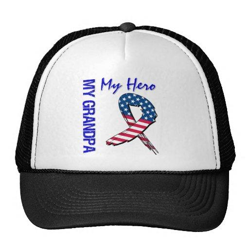 My Grandpa My Hero Patriotic Grunge Ribbon Hats