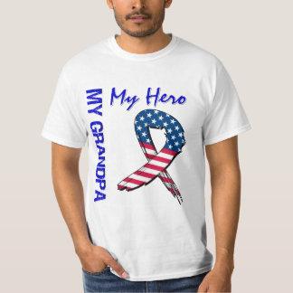 My Grandpa My Hero Patriotic Grunge Ribbon T-shirt