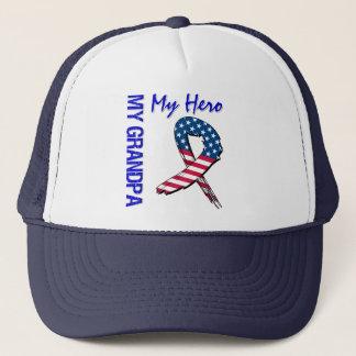 My Grandpa My Hero Patriotic Grunge Ribbon Trucker Hat