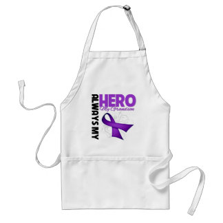 My Grandson Always My Hero - Purple Ribbon Adult Apron