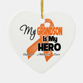 My Grandson is My Hero - Leukemia Ceramic Ornament