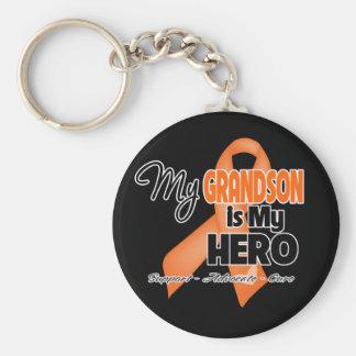 My Grandson is My Hero - Leukemia Basic Round Button Keychain