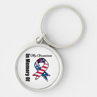 My Grandson Memorial Patriotic Ribbon Keychain