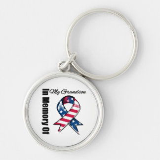 My Grandson Memorial Patriotic Ribbon Silver-Colored Round Keychain