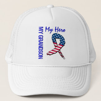 My Grandson My Hero Patriotic Grunge Ribbon Trucker Hat