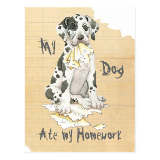 My Great Dane Ate My Homework Postcard