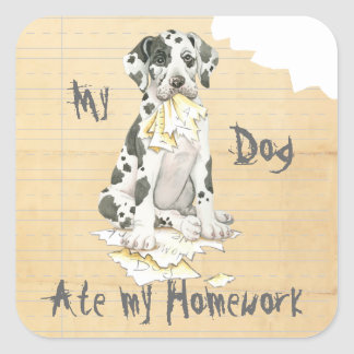 My Great Dane Ate My Homework Square Sticker