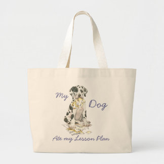 My Great Dane Ate My Lesson Plan Large Tote Bag