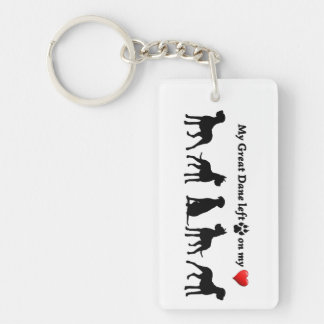 My Great Dane left Pawprints on my Heart Dog Pet Double-Sided Rectangular Acrylic Keychain