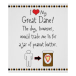 My Great Dane Loves Peanut Butter Poster