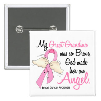 My Great Grandma Is An Angel 2 Breast Cancer Button