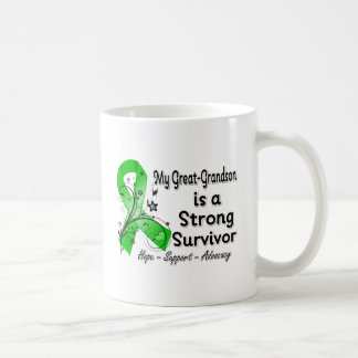 My Great Grandson Strong Survivor Green Ribbon Classic White Coffee Mug